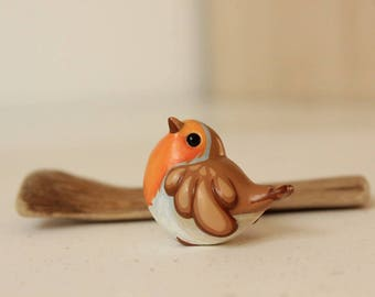 Robin Figurine - Handmade Polymer Clay Cute Bird