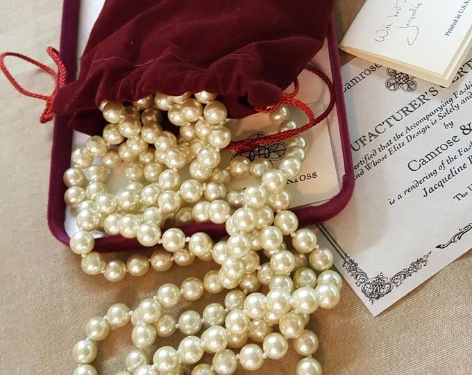 Jackie Kennedy Camrose and Kross Long Triple Pearl Necklace NIB