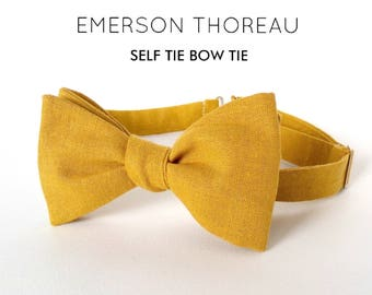 Mustard Linen Bow Tie / Self Tie Yellow Saffron Wedding Groomsmen Matching Pocket Square Boys Men Extra Long Freestyle Adjustable Natural