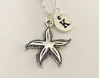 Starfish necklace, Starfish jewelry, Best Friend necklace, Starfish pendant, Silver Starfish, Initial silver, Hand stamped