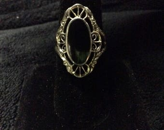 Vintage Handcrafted silver and Onyx Ring