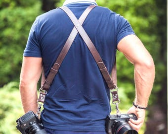 Photographer Leather harness. Dual camera photographer strap