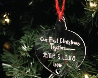 Personalised Couples Christmas Tree Decoration | Custom Engraved 1st Bauble Gift