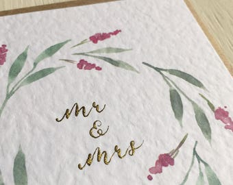 Wedding card - watercolour card - blank greeting card - illustrated - calligraphy