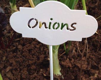 Vegetable metal marker/ Onion marker in white