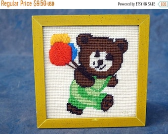 S Finished Yellow Framed Cross Stitch Bear with balloons 5.75 x 5.75 inches