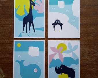 4 Cute postcards for any occasion !