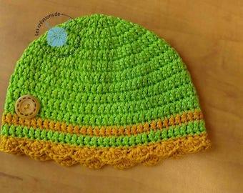 Cotton Sun hat. Summer hat. Beach hat. Size 12-24 months. Handmade crochet.