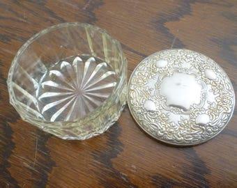 Lidded silver plated powder or trinket pot  Glass Art Nouveau
