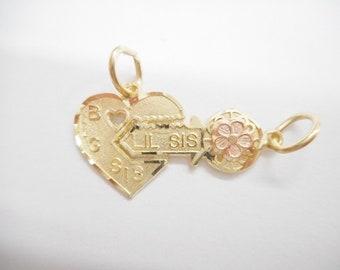 Sister Charm, Gold Charm, Big Sister Charm, Little Sister Charm, 10K Yellow Rose Gold Big Sis Lil Sister Heart Key Lock Charm Pendant #4266