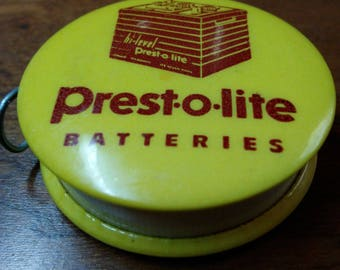 Presto-o-lite Batteries Advertising Celluloid tape measure