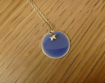 blue gold necklace blue round and Star