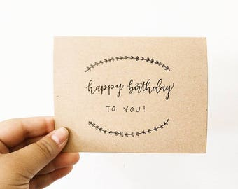Happy Birthday Greeting Card Kraft Paper