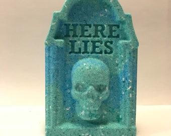 Here Lies Tombstone Bath Bomb | Tombstone | Dark Theme | Death Theme | Dark Themed Bath Bombs | Bath Bomb | Unique Bath Bombs | Colorful