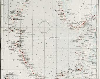 1900 Antique map of THE NORTH SEA. Atlantic Ocean. Nordsjøen. Norwegian Sea. Great Britain. Norway. Denmark Scandinavia. 118 years old chart