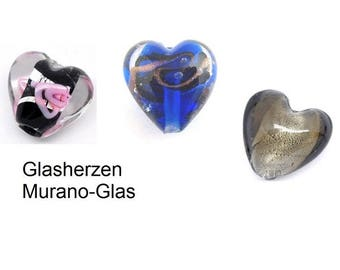 Heart, heart of glass, Murano glass, glass beads,