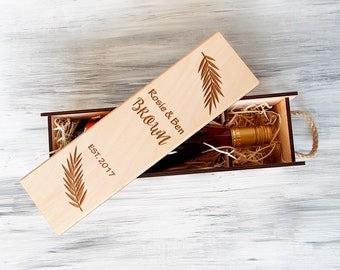 Wedding wine box, Personalized Wine Box, Wooden Wine Box, 5th Anniversary Gift, Wine Box Ceremony, Housewarming Gift, Wine lover Gift