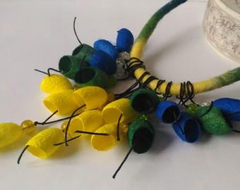Yellow silk cocoons necklace Blue green necklace Long Necklace-Boho Silk cocoons jewelry