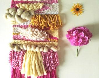 Woven - Woven wall hanging - wall decor - Weaving - weave pink - yellow weaving