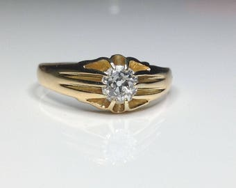 Estate Antique 18K Yellow Gold 0.82 CTW Old Euro Diamond Solitaire Ring Size 11.5