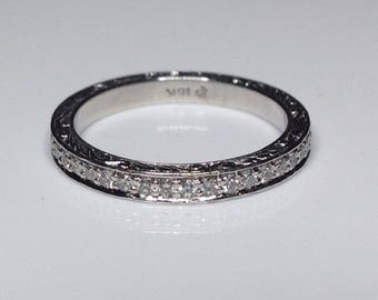 Estate 18K White Gold 0.75CTW Diamond Eternity Wedding Anniversary Band Ring 6.5