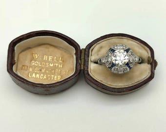 Estate Art Deco 2.47CTW Old European cut Diamond Platinum Engagement Ring