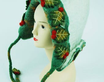 Handmade Christmas Felt Hat(White/Green)
