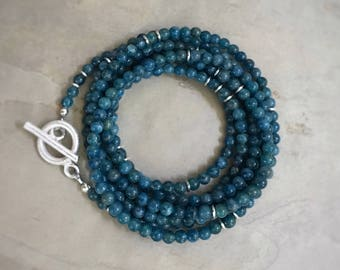 Apatite Wrap Bracelet Necklace Sterling Silver