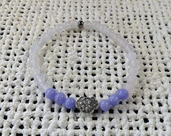 Purple crazy lace and white agate bracelet