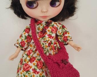 Hand made Blythe doll dress and matching bag