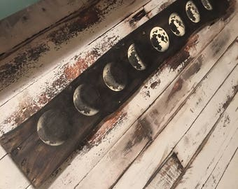 Moon Phases on reclaimed wood FREE SHIPPING!