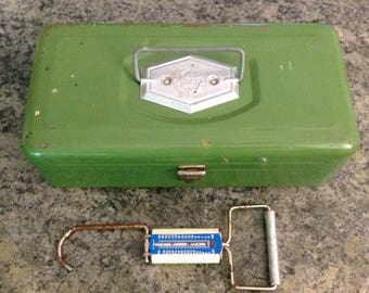 Vintage Tackle Box, Old Pal , Weigh Scale, Tackle, Metal Fishing Tackle Box, Lures