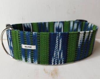 """Green Aztec Dog Collar - Mayan Hand Woven Fabric - Striped Dog Collar -  Western Dog Collar - Cowboy - Boho style- """"The Elsa"""""""