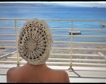 Hat Basque Woman Cotton Crochet Spring & Summer - White