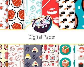 Sushi Digital Papers personal and commercial use for invitations, cupcake toppers, cards, party supplies DG48