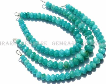 Amazonite Rondelle Faceted beads, Quality AAA, 6 to 8 mm, 18 cm, 36 pieces, AM-066/1, Semiprecious Gemstone beads, Craft Supplie for jewelry