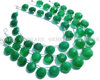 Green Onyx Faceted Coin Semiprecious Gemstone beads, Quality AAA, 9 to 12 mm, 18 cm, 16 pieces, GR-100/1, Craft Supplies For Jewelry Making