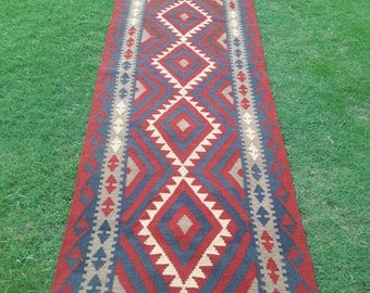 Article # 5224 AFGHAN Maimana Hand Woven Kilim Ruuner Rug Double Face Design 392 x 86 cm