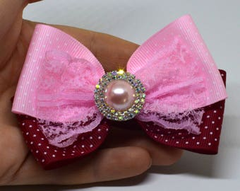 Pink handmade bow, hair clip bow, lace and ribbon bow, large bow, handmade hair clip, hair accessories, big girl bow