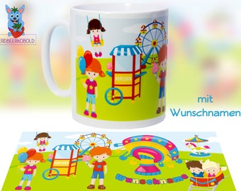 """Cup theme """"Leisure park"""" ceramic with your NAME"""