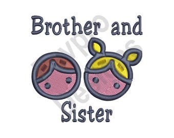 Brother And Sister - Machine Embroidery Design