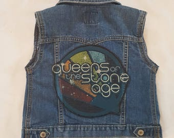 TODDLERS Queens of the Stone Age denim rock vest- size 3T