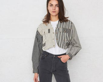 Vintage Black And White Striped Denim Crop Jacket