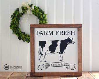 Cow Sign / Wood Cow Sign / Farm Fresh Sign / Farmhouse Decor / Farmhouse Kitchen / Rustic Sign / Rustic Decor / Farmhouse Kitchen Decor