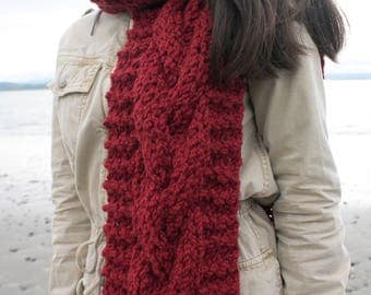 Chunky knit scarf, red knit scarf, knit wool scarf, red scarf, knitted scarf, women fashion accessories, gift for her, gift for women