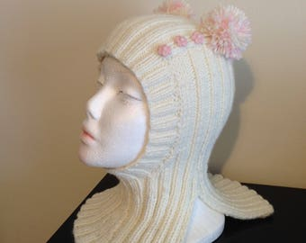 SALE!!!!   Kids Knits 2-3 years 100% Hand Knitted Hat Unisex. White Сap-helmet Merino wool