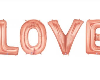 Giant Rose Gold LOVE balloon Letters, LOVE letters in Rose Gold, Rose Gold Balloons, 100cm in size each letter