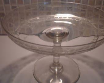 Art Deco Cut Glass Cake Stand