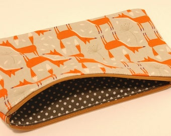 Geometric Fox Zipper Pouch - makeup bag; pencil case; gift for her; cosmetic bag; carry all; gadget case; birthday; bridesmaids