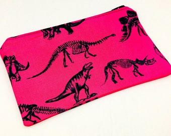 Dinosaurs and Fossils on Hot Pink Novelty Zipper Pouch - makeup bag; pencil case; gift for her; cosmetic bag; carry all; gadget case;